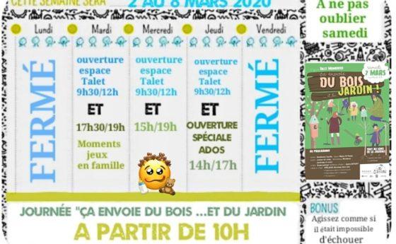 Hello les Mousaillons voici le planning de la semaine prochaine , samedi 7 mars …