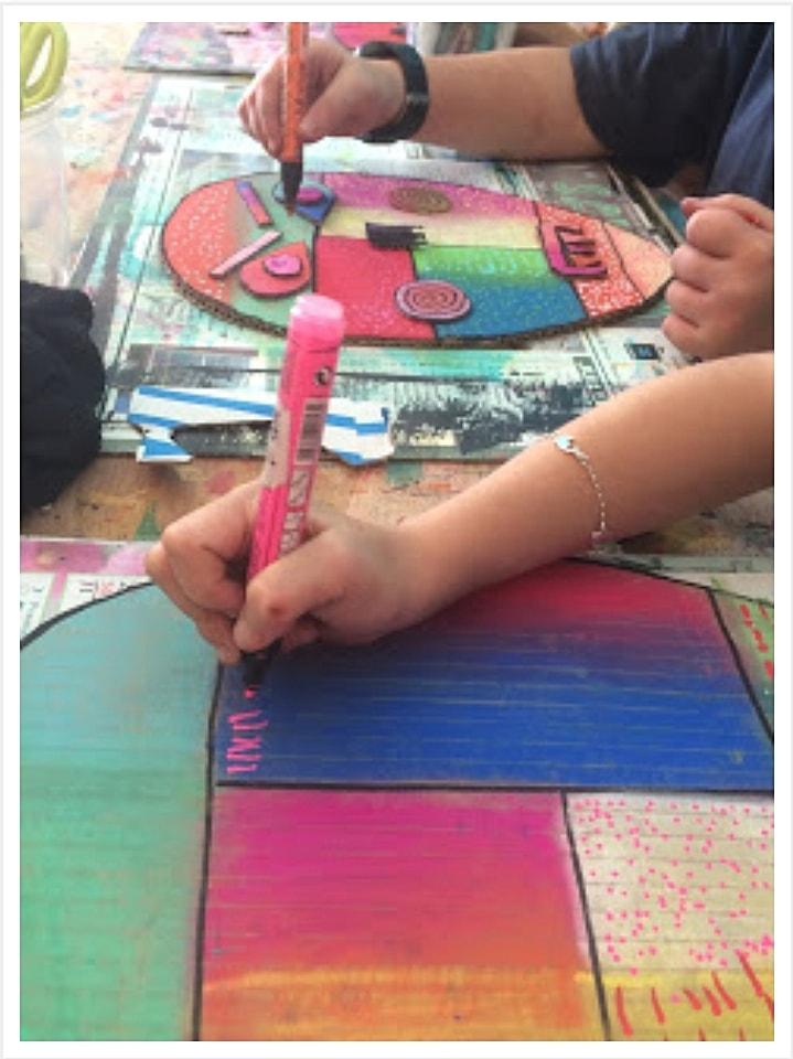 Réaliser son masque coloré : ciseau , carton , peinture , colle