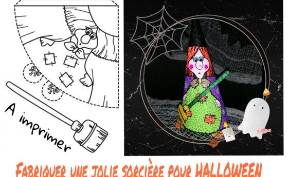 Une jolie sorcière à fabriquer pour HALLOWEEN, imprimer, découper, colorier, et …
